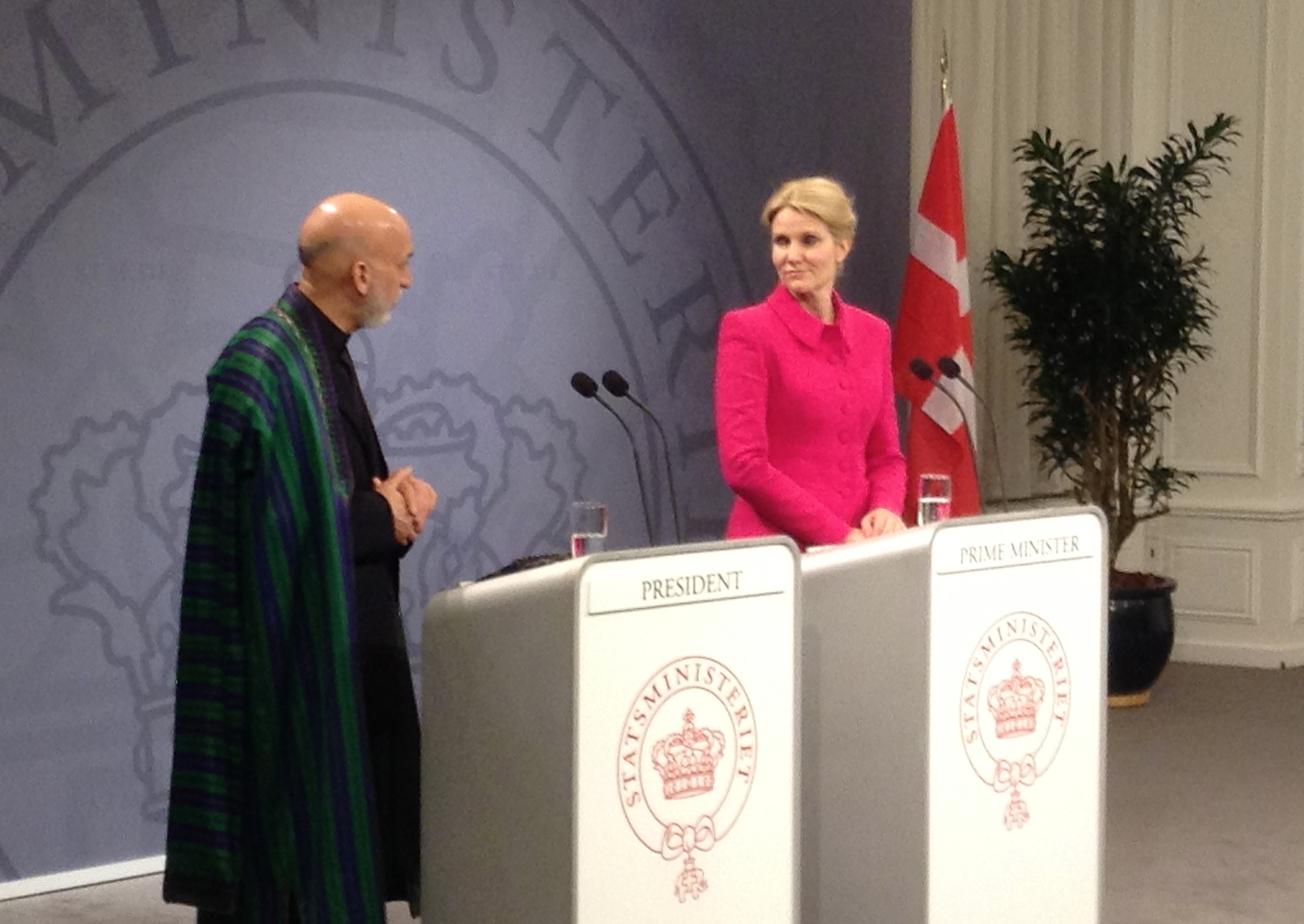 Die damalige dänische Regierungschefin Helle Thorning-Schmidt mit dem damaligen afghanischen Präsidenten Hamid Karzai in Kopenhagen am 2. Mai 2013 (Foto: Bomsdorf).